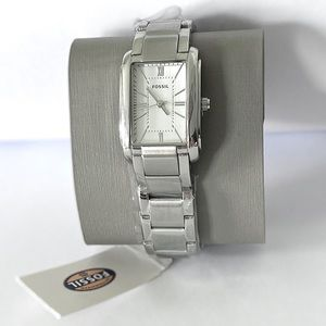 Fossil Analog Rectangular Stainless Steel Watch